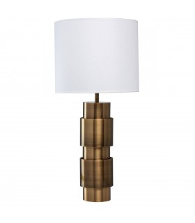 Antique Brass LED Table Lamp With White Fabric Shade
