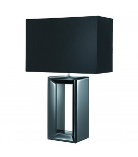 1 Light Table Lamp Black Mirror with Shade