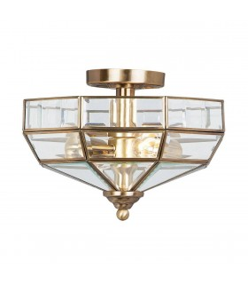 2 Light Semi Flush Ceiling Light Antique Brass