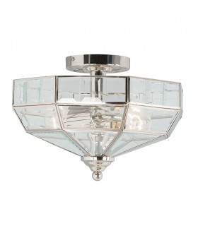 2 Light Semi Flush Ceiling Light Polished Nickel