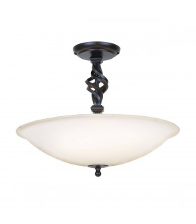 3 Light Semi Flush Ceiling Light Black