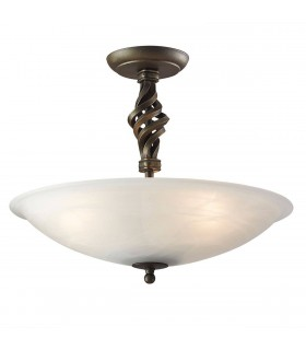 3 Light Semi Flush Ceiling Light Black, Gold