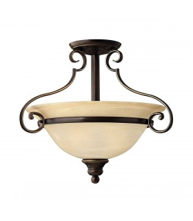 2 Light Semi Flush Ceiling Light Antique Bronze