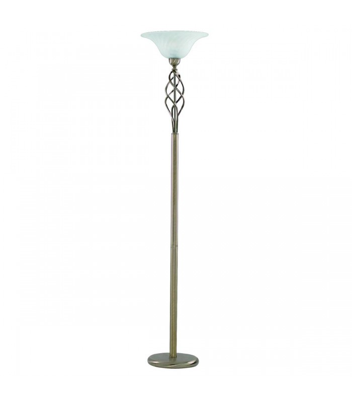 Zanzibar Antique Brass Floor Lamp with Marble Diffuser - Searchlight 6021AB