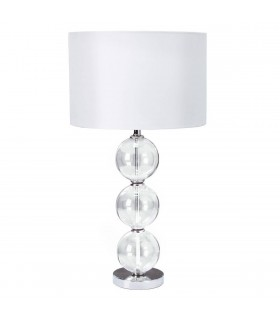 1 Light Table Lamp Chrome, with Glass Balls & White Shade, E27