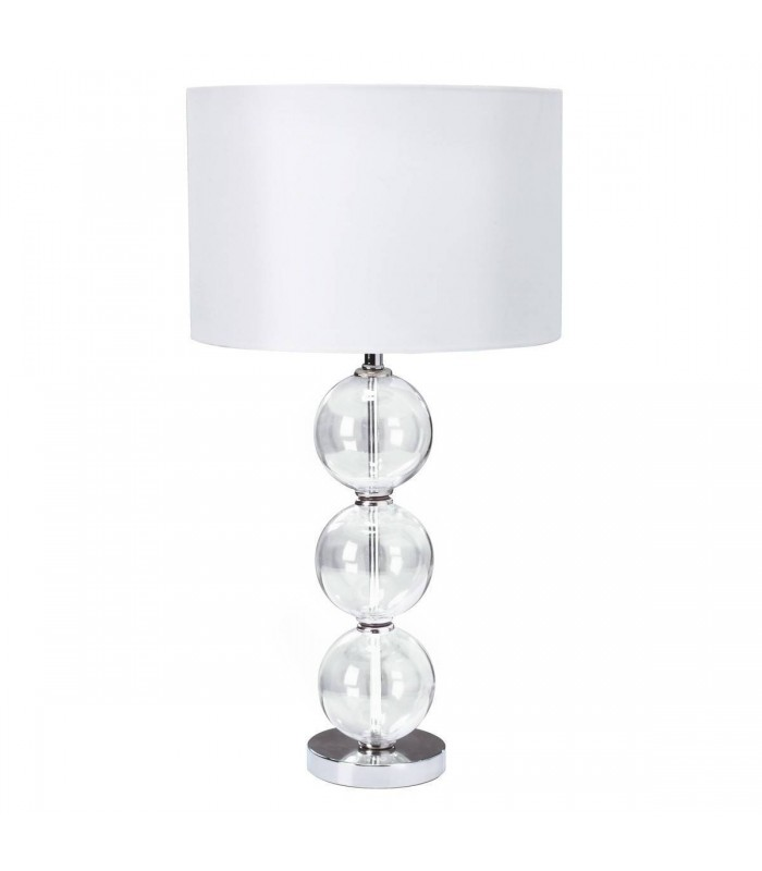 1 Light Table Lamp Chrome, with Glass Balls & White Shade