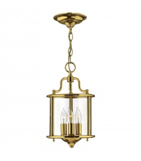3 Light Small Ceiling Pendant Polished Brass