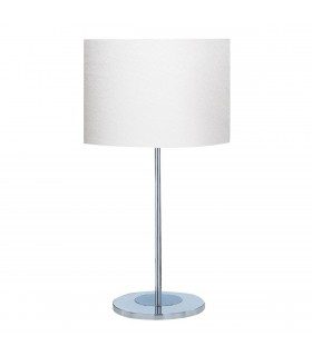 1 Light Round Table Lamp Chrome with White Fabric Shade, E27