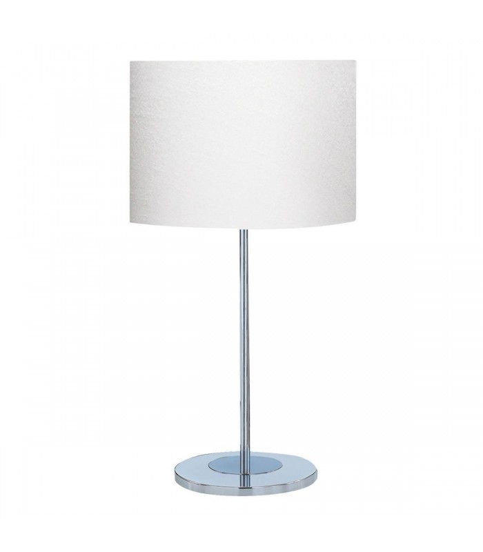 1 Light Round Table Lamp Chrome with White Fabric Shade