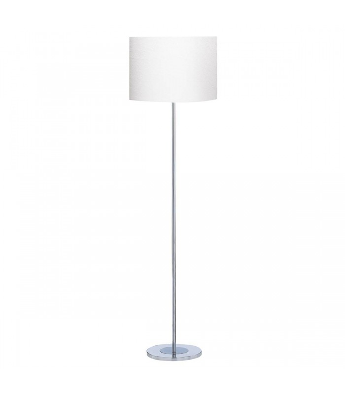 Chrome Round Base Floor Lamp with White Fabric Shade - Searchlight 7550CC