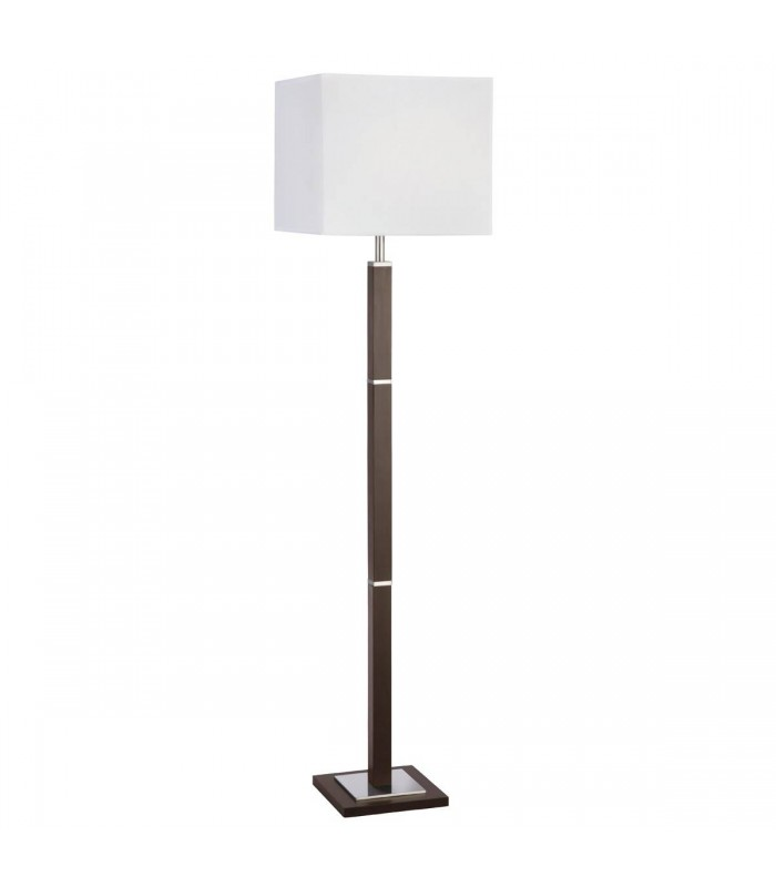 1 LIGHT BROWN WOOD/SATIN SILVER RECTANGULAR FLOOR LAMP - Searchlight 8880BR