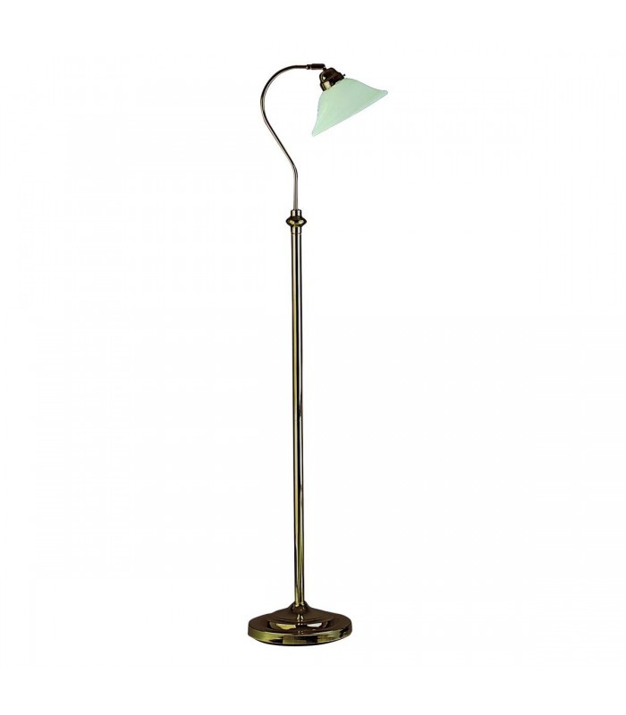 1 Light Adjustable Floor Lamp Antique Brass with Marble Shade, E27