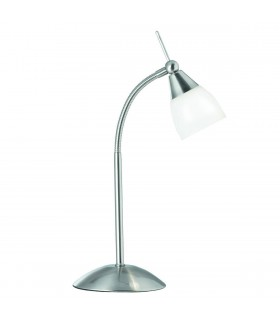 1 Light Table Touch Lamp Satin Silver with Opal Shade