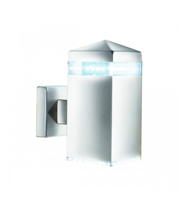 Satin Silver LED Outdoor Wall Light IP44
