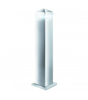 LED 16 Light Square Outdoor Bollard Post Light Satin Silver, Stainless Steel IP44