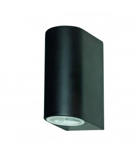 LED 2 Light Outdoor Up Down Wall Light Black Cast Aluminium IP44