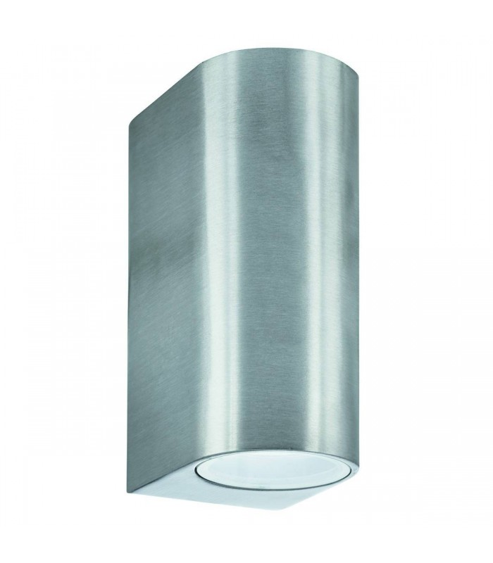 Silver Cylinder Dual LED Outdoor Wall Light Fixture