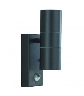 LED 2 Light Outdoor Wall Light Black Cast Aluminium with Motion Sensor IP44