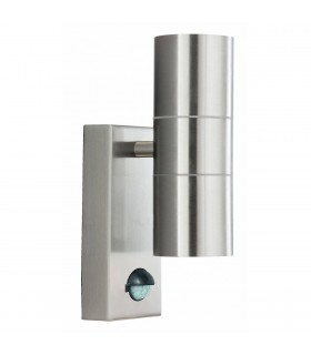 Dual 2 Light Outdoor Up Down Wall Light Cast Aluminium with Motion Sensor IP44