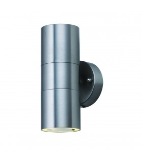Stainless Steel Dual LED Outdoor Cylinder Wall Light - Searchlight 5008-2-LED
