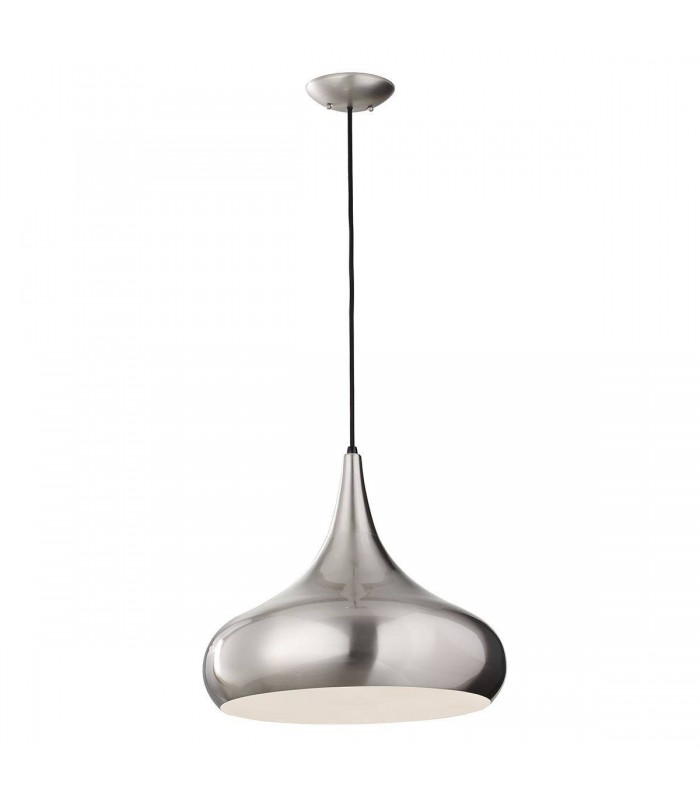1 Light Large Dome Ceiling Pendant Brushed Steel