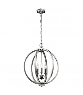 3 Light Medium Spherical Ceiling Pendant Polished Nickel