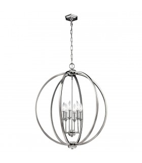 6 Light Spherical Ceiling Pendant Polished Nickel, E14