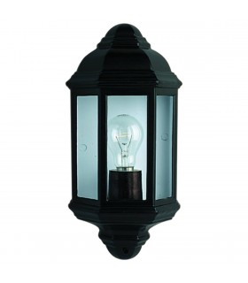 1 Light Outdoor Flush Lantern Light Black IP44