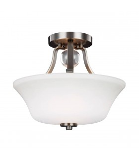2 Light Semi Flush Ceiling Light Satin Nickel