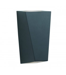 LED 2 Light Outdoor Wall Light Cast Aluminium Black IP44