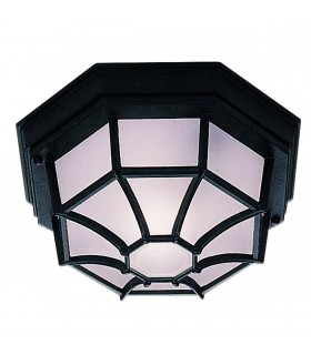 1 Light Outdoor Flush Ceiling Light Cast Aluminium Black IP54