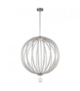 LED 2 Light Large Spherical Ceiling Pendant Satin Nickel