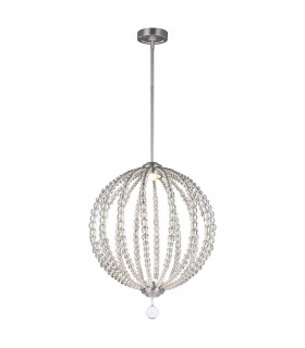LED 2 Light Medium Spherical Ceiling Pendant Satin Nickel