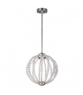 LED 1 Light Small Spherical Ceiling Pendant Satin Nickel