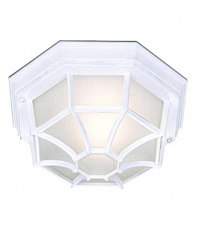 White Hexagonal Outdoor Flush Ceiling Light - Searchlight 2942WH
