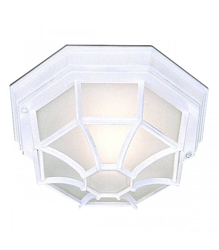 1 Light Outdoor Flush Ceiling Light Cast Aluminium White IP54