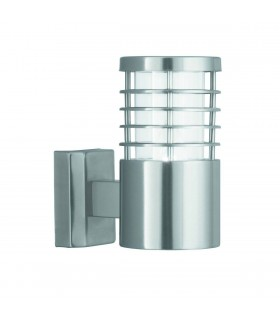 1 Light Outdoor Garden Wall Light Satin Silver IP44, E27