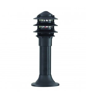 1 Light Outdoor Pedestal Bollard Light Black IP44