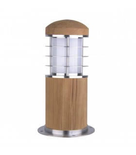 1 Light Outdoor Bollard Light Stainless Steel, Teak IP55