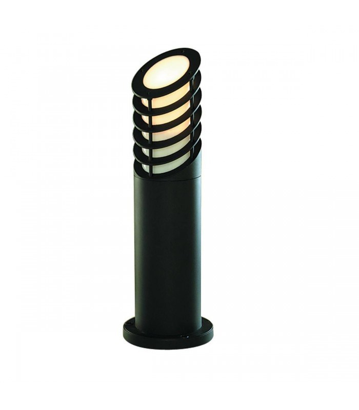 Black Outdoor 45cm Garden Bollard Light with White Diffuser - Searchlight 1086-450