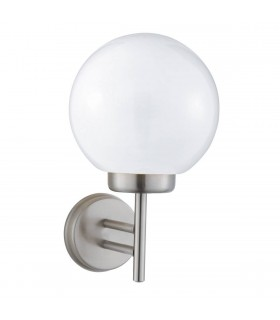 1 Light Outdoor Garden Wall Light Satin Silver IP44
