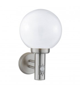 1 Light Outdoor Globe Wall Light Satin Silver with Motion Sensor IP44, E27