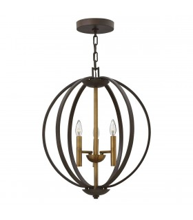 3 Light Spherical Ceiling Pendant Chandelier Bronze, E14