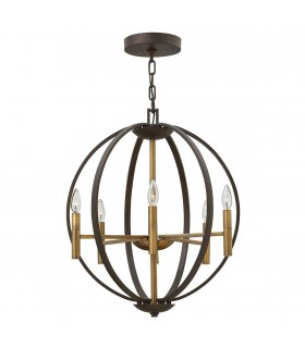 6 Light Spherical Ceiling Pendant Chandelier Bronze, E14