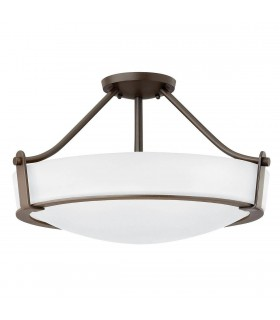 2 Light Medium Semi Flush Ceiling Light Bronze