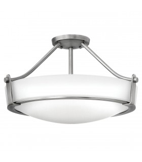 2 Light Medium Semi Flush Ceiling Light Nickel