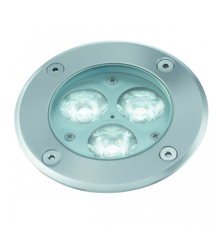 LED 3 Light Recessed Outdoor Pathway Ground Light Stainless Steel IP67