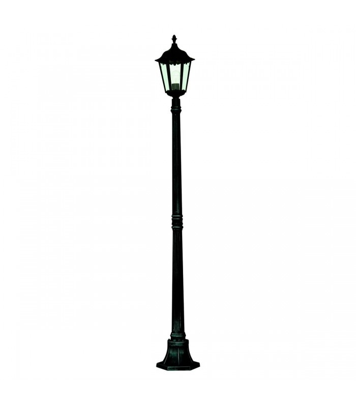 1 Light Outdoor Lamp Post Black with Clear Glass Diffuser IP44, E27