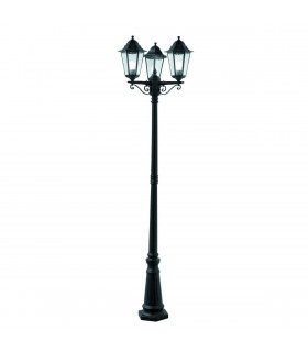 3 Light Outdoor Lamp Post Black IP44