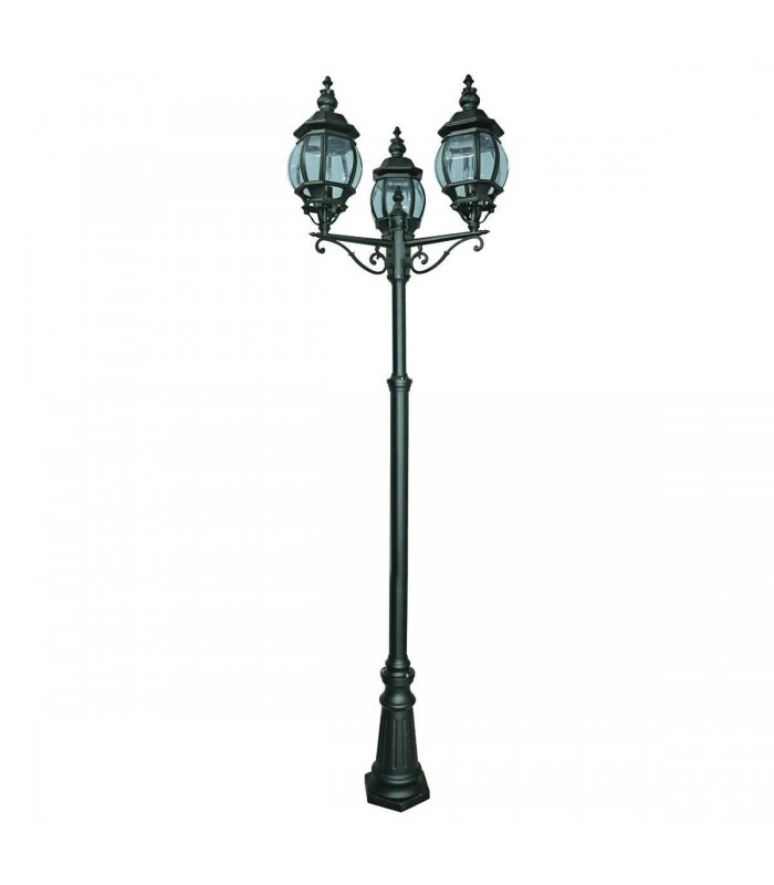 Bel Aire Black 3 Light Outdoor Post Lamp - Searchlight 7173-3